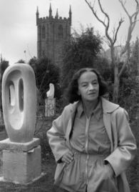 1954, St. Ives, Cornwall, England, UK --- Barbara Hepworth, 1903-1975, sculptor, shown in the grounds of her workplace,Trewyn Studios, St.Ives, Cornwall, in 1954. Her garden and studio are now in the care of the Tate Gallery. The Tate Gallery, U.K., has 128 works by Hepworth, who was one of the most influential sculptors of the mid 20th century. | Location: St.Ives, Cornwall, U.K..  --- Image by © Brian Seed/Lebrecht Music & Arts/Corbis