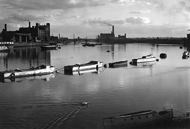 River Thames and Lots Road Power Station seen from Battersea Bridge, 1956